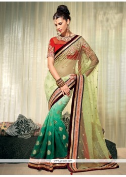 Exceptional Green Shaded Pure Viscose Designer Saree