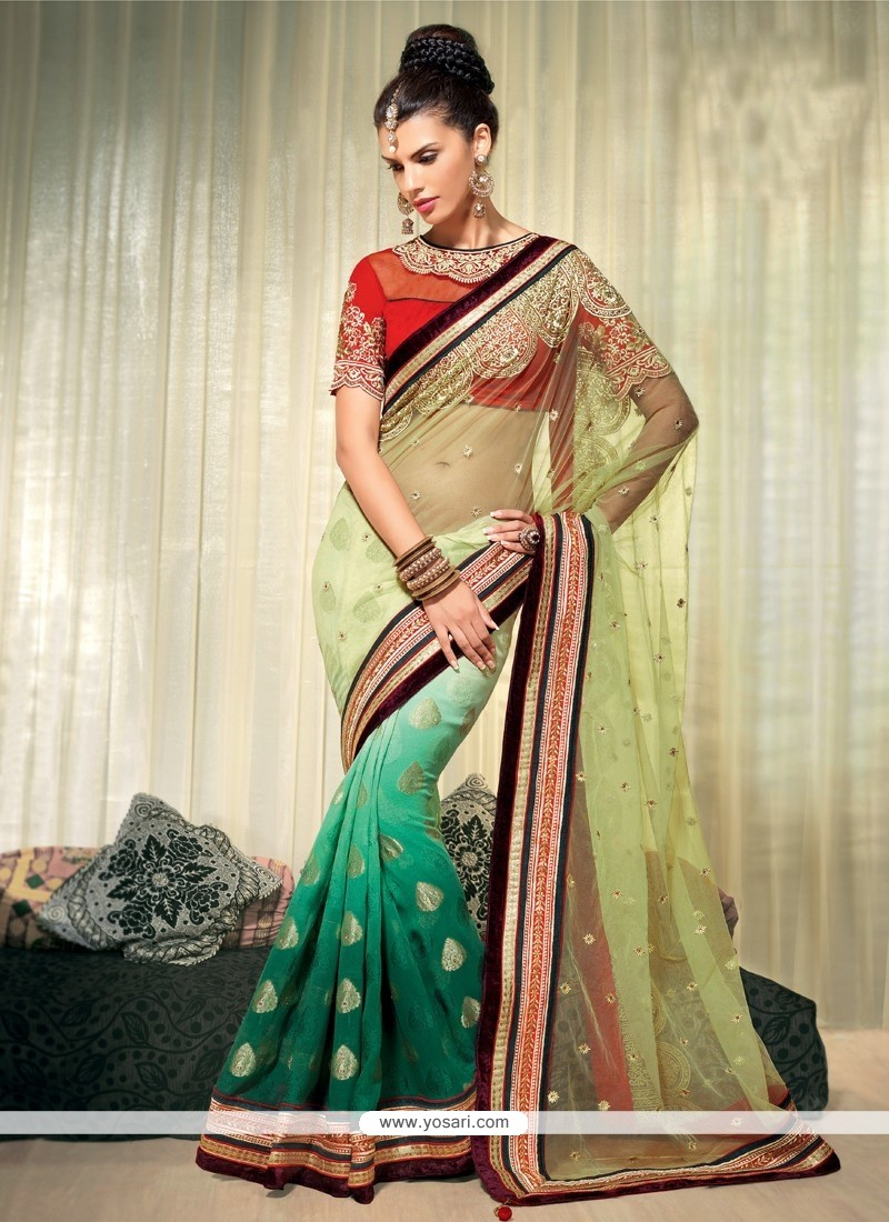 Exceptional Green Shaded Pure Viscose Designer Saree