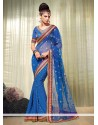 Epitome Blue Viscose Designer Saree