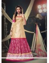 Embroidered Net A Line Lehenga Choli In Hot Pink