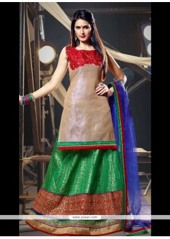 Distinguishable Net Beige And Green A Line Lehenga Choli