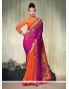 Orange And Purple Embroidery Designer Saree