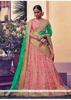 Lurid Net Pink Embroidered Work A Line Lehenga Choli