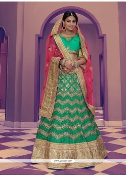 Adorning Green Embroidered Work A Line Lehenga Choli