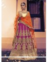 Magnetize Hot Pink Patch Border Work A Line Lehenga Choli