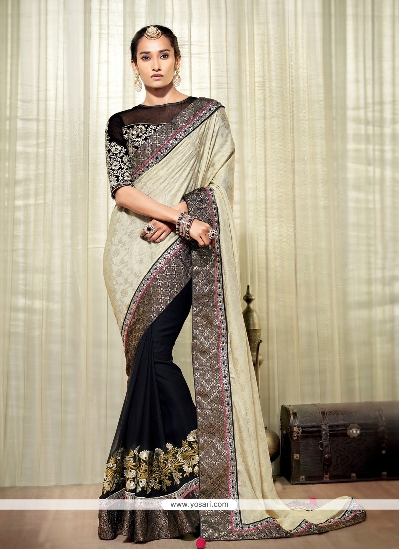 Black And Cream Jacquard Designer Saree