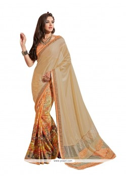 Lovely Beige And Orange Designer Saree