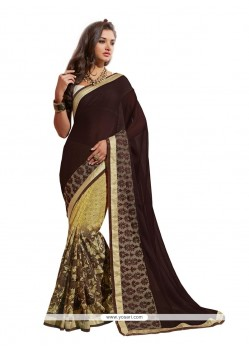 Lovely Patch Border Work Brown Designer Saree