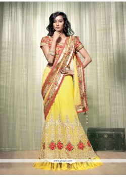 Delightful Yellow Georgette Lehenga Saree