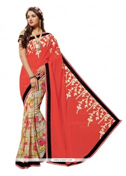 Gleaming Multi Colour Print Work Georgette Designer Saree