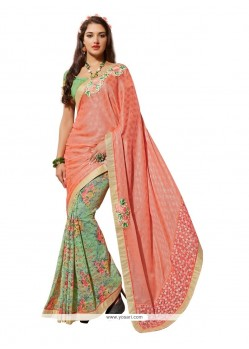 Superlative Print Work Net Designer Saree