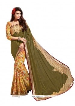 Gripping Patch Border Work Net Designer Saree