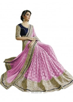 Especial Pink Embroidered Work Fancy Fabric Designer Saree