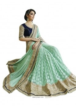 Wonderous Sea Green Designer Saree