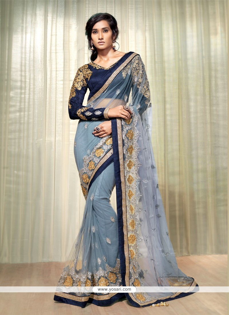 Competent Grey Net Designer Saree