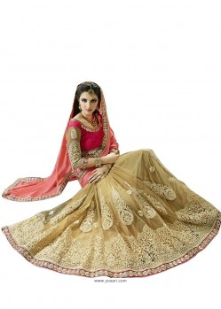 Glossy Fancy Fabric Beige Designer Saree