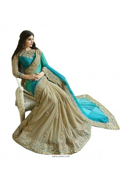 Distinctive Fancy Fabric Beige Embroidered Work Designer Saree