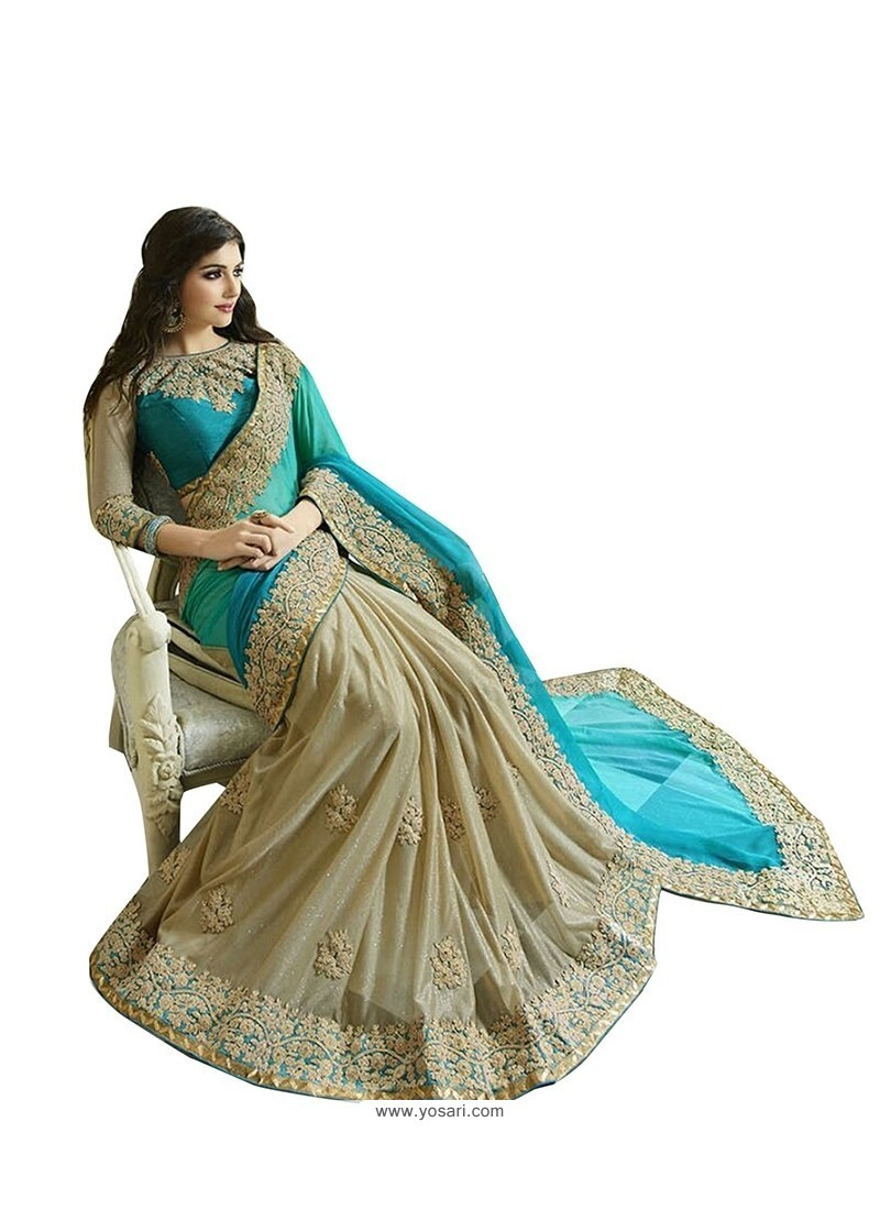 Distinctive Fancy Fabric Beige Embroidered Work Designer Saree