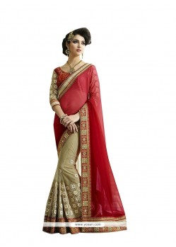 Grandiose Fancy Fabric Beige Patch Border Work Designer Saree