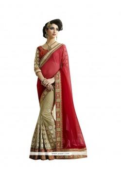 Grandiose Fancy Fabric Beige Patch Border Work Designer Saree