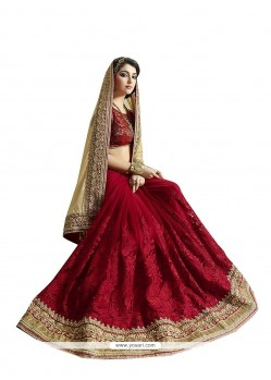 Maroon Embroidered Work Lycra Designer Saree