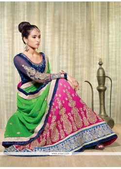 Green And Pink Shaded Georgette Lehenga Saree
