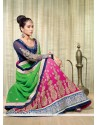 Green And Pink Shaded Georgette Lehenga Saree
