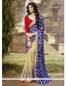 Ethnic Beige And Navy Blue Georgette Classic Designer Saree