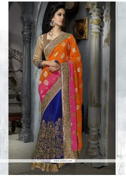 Navy Blue Patch Border Work Viscose Classic Designer Saree
