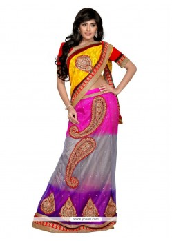 Amazing Multi Colour Patch Border Work Net Lehenga Saree