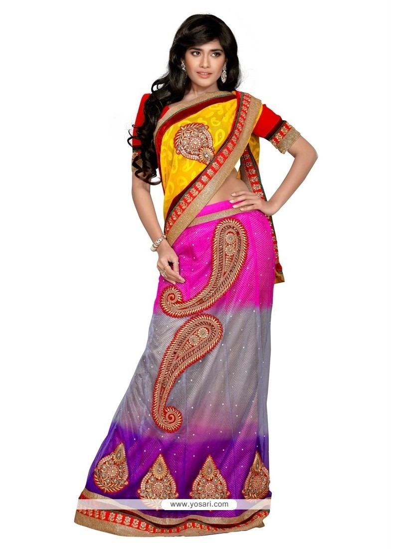 Amazing Multi Colour Patch Border Work Net Lehenga Saree