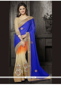 Unique Georgette Blue Embroidered Work Classic Designer Saree