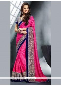 Customary Jacquard Hot Pink Classic Designer Saree