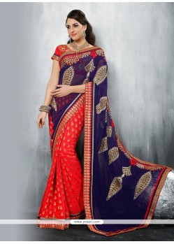 Entrancing Navy Blue And Red Patch Border Work Classic Designer Saree