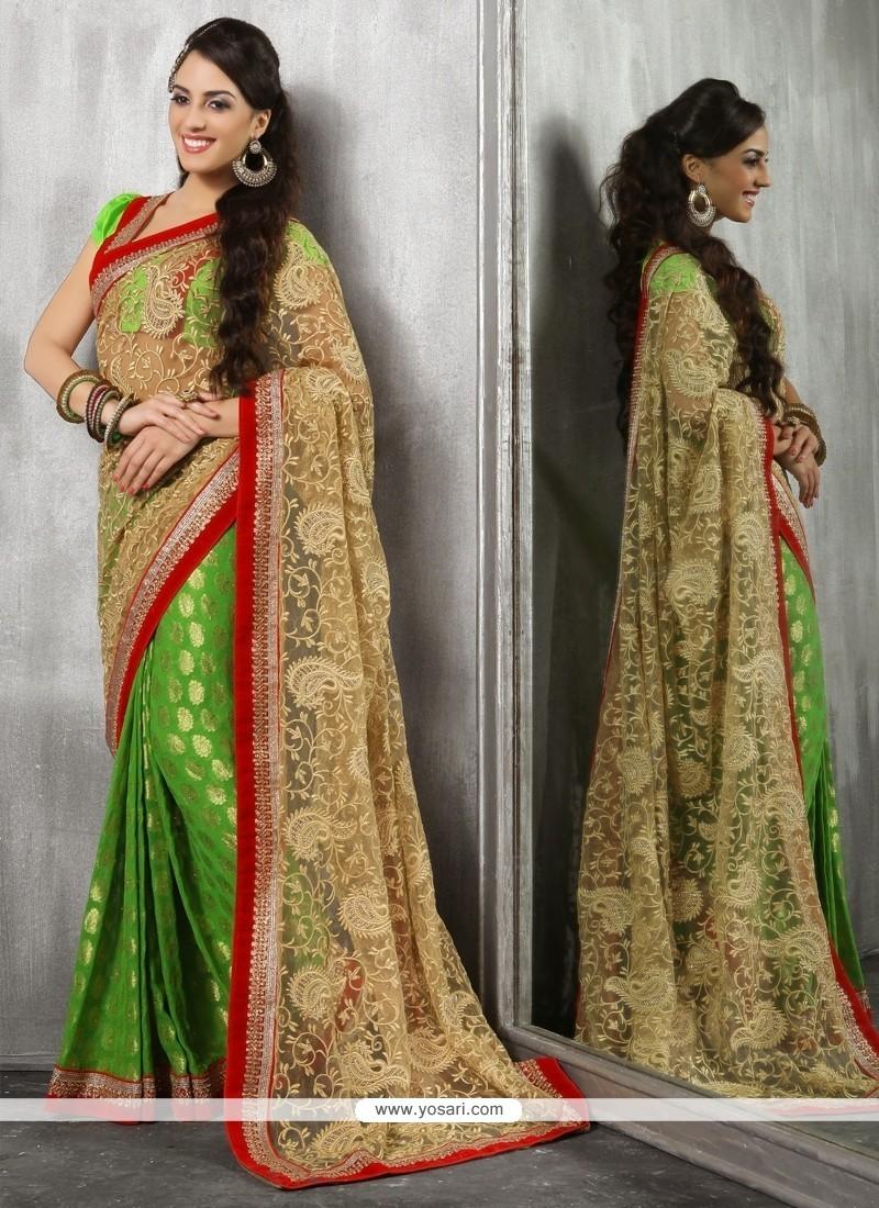 Haute Embroidered Work Net Classic Designer Saree