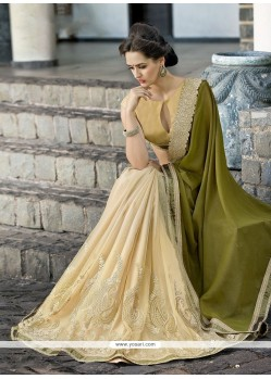 Superlative Embroidered Work Beige And Green Georgette Designer Saree