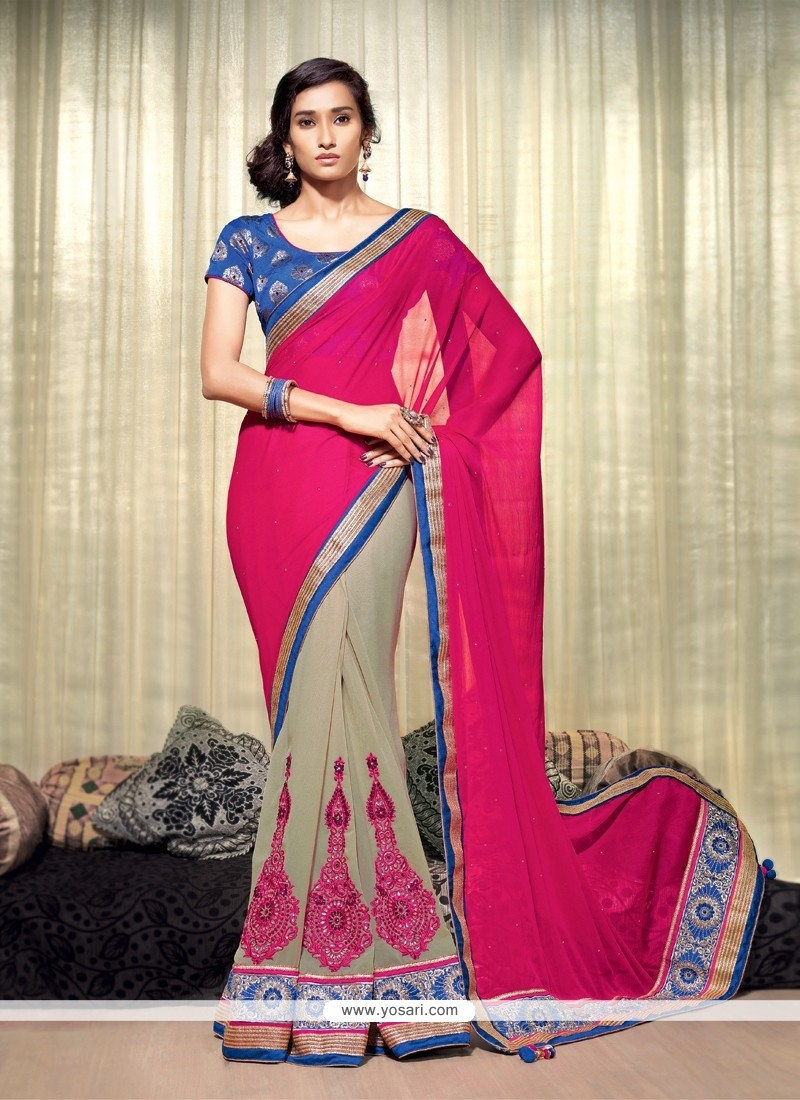 Magenta And Grey Chiffon Party Wear Saree