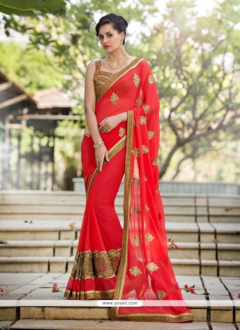 Wonderous Embroidered Work Red Georgette Designer Saree