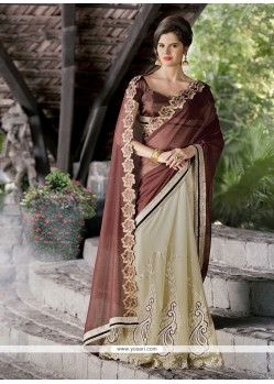 Patch Border Georgette Designer Saree In Brown