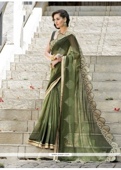 Paramount Green Embroidered Work Designer Saree
