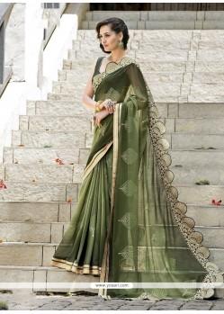 Paramount Green Embroidered Work Designer Saree