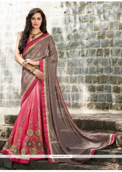 Ethnic Hot Pink Embroidered Work Georgette Designer Saree