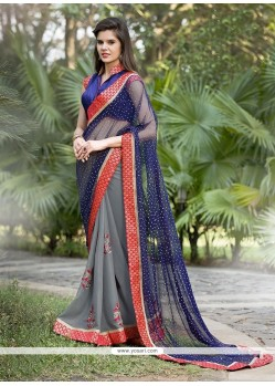 Sorcerous Navy Blue Embroidered Work Georgette Designer Saree
