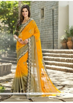 Perfect Georgette Mustard Designer Saree