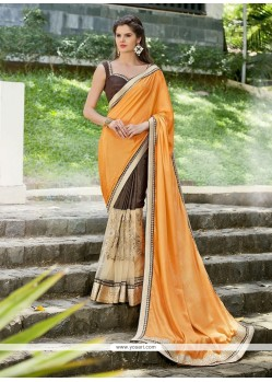 Embroidered Georgette Designer Saree In Brown