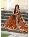 Graceful Georgette Brown Designer Saree