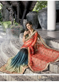 Irresistible Multi Colour Patch Border Work Designer Saree