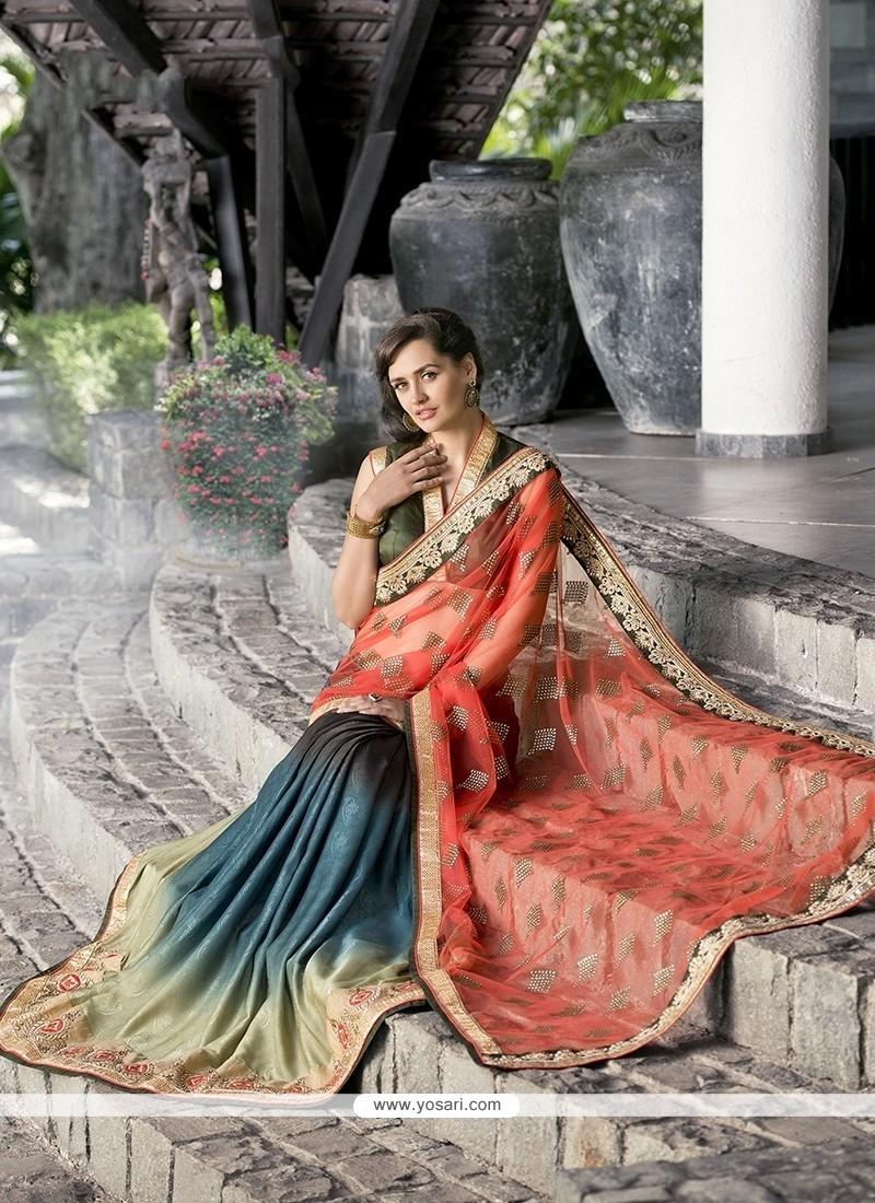 Irresistible Multi Colour Patch Border Work Designer Saree