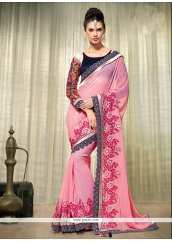 Beauteous Pink Georgette Wedding Saree