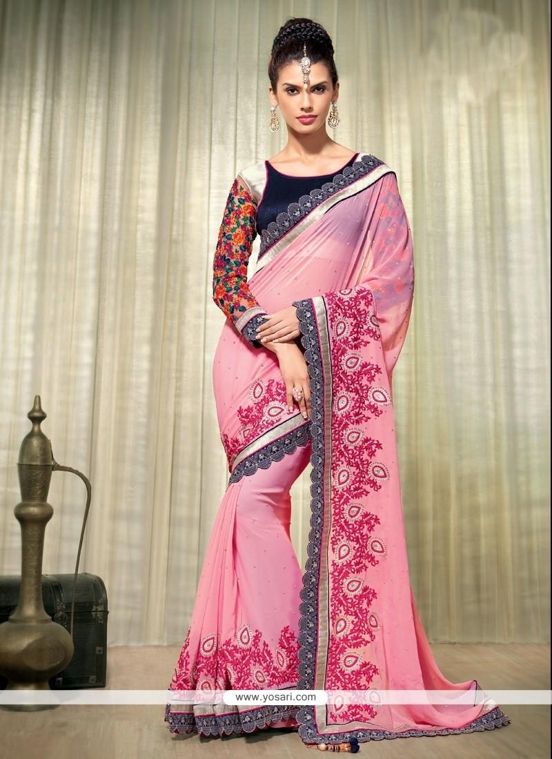 Beauteous Pink Georgette Wedding Saree
